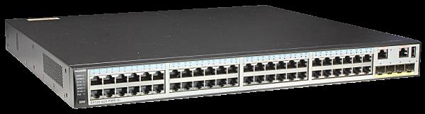 Коммутатор Huawei S5720-52X-PWR-SI-ACF (48x10/100/1000BASE-T ports, 4x10GE SFP+ ports, PoE+, 1150W AC power supply)
