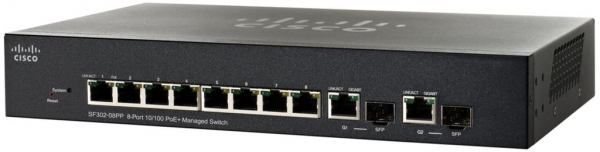 Коммутатор Cisco SB SF302-08PP-K9-EU (8 портов, PoE)